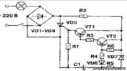 схема продления жизни электролампочки