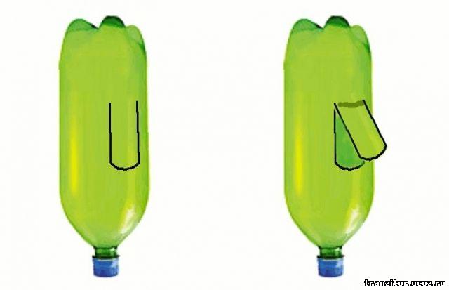 Берем бутылку и делаем на ней прорезь так, чтобы образовался лепесток размером примерно с 3G модем.